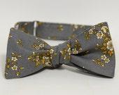 Nana handmade modern grey and mustard floral bow tie