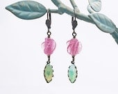 Delicate Vintage Glass Earrings Diaphanous Pink Beads Opalescent Peridot Green Navettes Antique Brass European Earwires Victorian OOAK