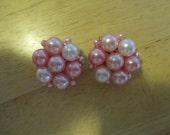 Vintage costume jewelry  /  hong kong clip on earrings