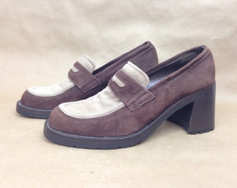 VTG 90s Grunge Suede Loafers Chunky Two Tone Shoes 7 Italy