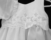 Christening Gown Embroidered Eyelet Dress Includes Diaper cover and Bonnet New Born to  18 months