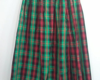 SALE 80s plaid skirt green red holiday punk boho dress grunge