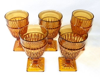 Indiana Glass Mount Vernon Amber Water or Wine Glasses, Set of 5