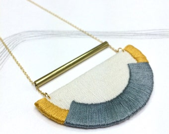 CRAVEN - Linen, Thread and Gold Necklace - Steel and Mustard