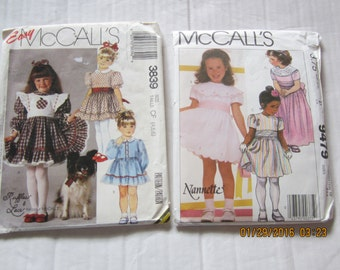 2 Vintage 80's MCCALL'S TODDLER 4-5-6 Girls Dress Patterns 3839 and Nannette 9479
