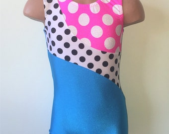 Turquoise Gymnastic Dance Biketard with Polka Dots Print Insert. Toddlers Girls Gymnastics Biketard. MORE COLORS. Size 2T - GIRLS 7