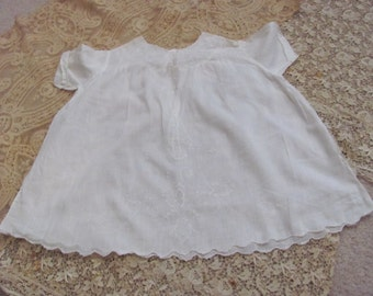 Antique Sheer Embroidered White Cotton Baby Gown Dress (02A)