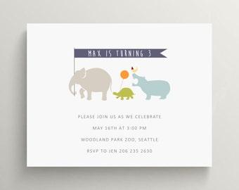 zoo animals on parade invitation set // thank you note // baby shower // jungle animals // elephant  //  hippo  //  turtle