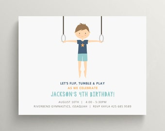 gymnastics boy birthday invitation set // gymnastics party // gymnast // thank you note // rings // olympics // party package