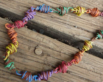 Rainbow telephone wire necklace