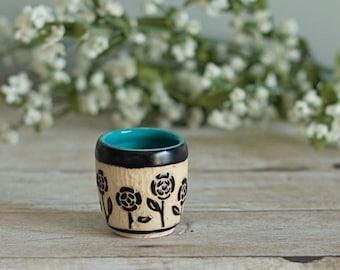 Ceramic Shot Glass / Sgraffito / Turquoise Blue / Flowers