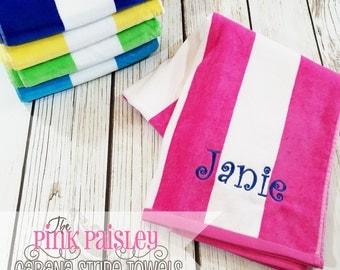 Personalized Beach Towel   Cabana Stripe Beach Towel   Monogram Beach Towel