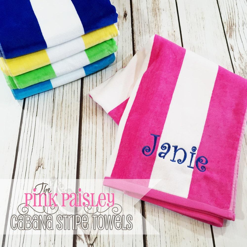 Personalized Beach Towel Cabana Stripe Beach Towel