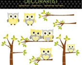 ON SALE Digital clip art owls, Owls and the branch, owls tree clip art, yellow and grey, INSTANT Download