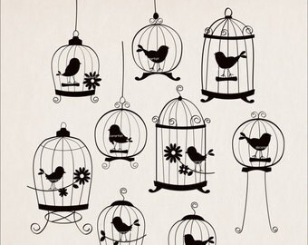 ON SALE Birds clipart, silhouette clipart, black birds clipart,SILHOUETTE 9 Birds and birdcages
