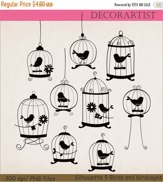 ON SALE Birds clipart, silhouette clip art,black birds clip art,SILHOUETTE 9 Birds and birdcages