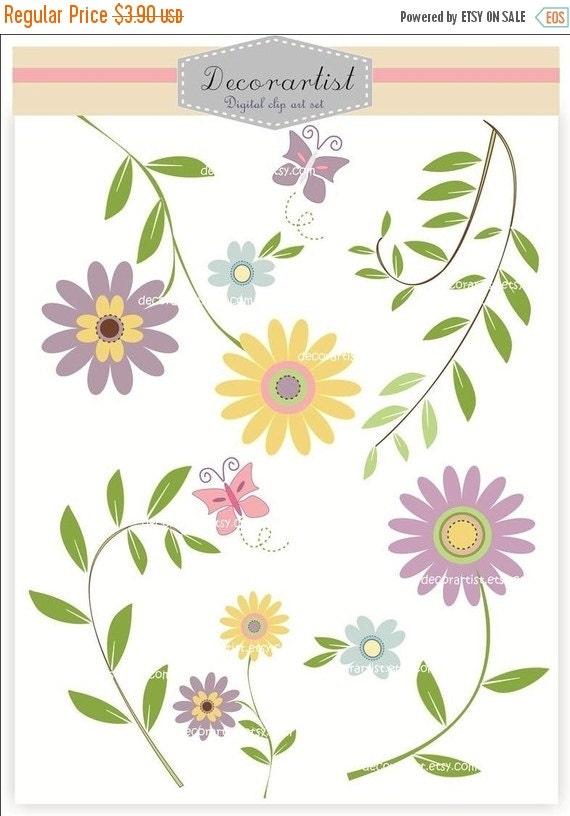 ON SALE, flower clip art, butterfly clip art, sweet garden, purple and yellow flowers.