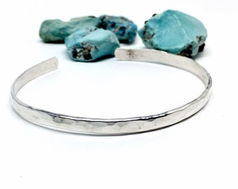 Simple Cuff Bracelet - Sterling Silver - Jewelry for her - Hammered Texture