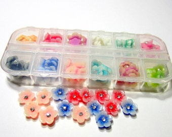 60 Resin daisy flowers cabochon flatback  assorted color nail art jewelry supply acrylic flowers 3622-(M5),