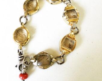 Vintage Watch Faces Framed Love Letters Bracelet