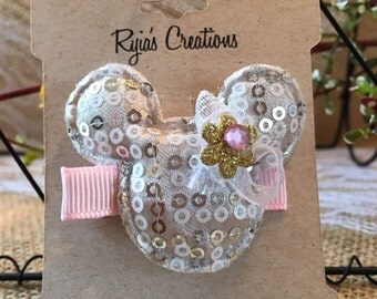 Silver Minnie Mouse Hair Clip/White Hair Clip/Padded Applique