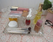 2-Tier Cosmetics Organizer Handmade from Vintage Glass, Makes a Great Serving Stand too, One of a Kind!