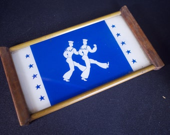 Vintage 1940s Reverse Painted Navy Sailor Drinks Tray