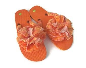 Decorated Flip Flops Orange Print Floral Trim Summer Beach Boho