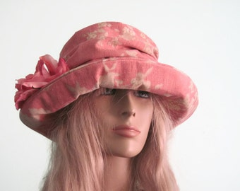 Pink Creme Floral  Print Cloche Womens Hat Ruched Hat with Flower Trim