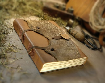 "Large Leather Journal Gift for Him Rustic Cowboy Wild West Ranch Journal, Huge Notebook, Diary Vintage Style Aged Pages - ""The Farrier"""
