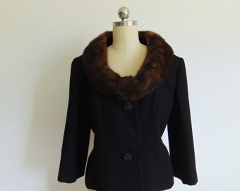 60s Lilli Ann MINK collar black wool jacket size medium