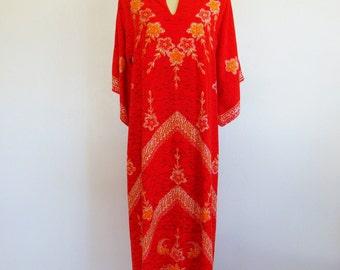 70s red cotton batik THAI CAFTAN size medium