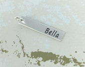Vertical personalized bar charm - Personalized charm - Custom Name Charm - Rectangle personalized charm - Bar charm - Sterling silver