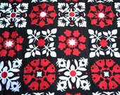 Springs Fabric - Black and Red Tole Calico Print - 44 x 46