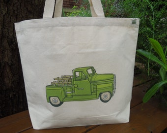 Natural cotton market tote - Large canvas bag - Reusable shopping bag - Carry books tote -Gender neutral tote -  Old fashioned pickup truck