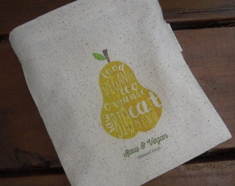 Reusable sandwich bag - Unbleached cotton sandwich bag -  Reuse sandwich bag - Eco friendly lunch bag - Raw and vegan, eat organic