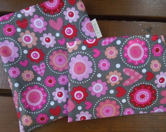 Reusable sandwich and/or snack bag - Reusable snack bag - Fabric sandwich bag - Reusable bags set - Lovebug - Flowers and hearts