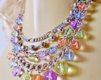Vintage Multi Strands Pastel Lucite Necklace Choker Collar 1980 Rose Quartz Silver Chains BoHo  Bridal Glistening Rainbow Runway Statement