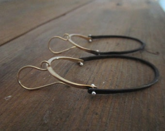 22K GOLD and STEEL earrings hinged with fine silver