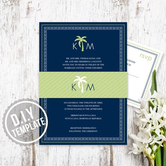 DIY Custom Destination Wedding Invitation Preppy Palm Tree
