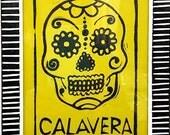 Calavera (Sugar Skull) Linocut Print