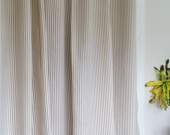 Classic ticking stripe shower curtain navy blue by