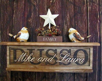 Personalized Wall Shelf Family Name Signs Personalized wedding gift Wood shelf decrotive floating shelf custom CARVED Sign Couples name sign