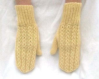 Mittens Baby Yellow Cables Eyelet Hand Knit Women Ladies Teens Wool