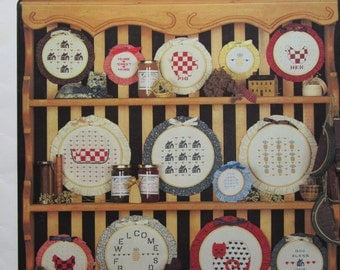 Hoop It Up with Folk Art/Counted Cross Stitch Patterns by athe agraph Menagerie/1983/15 Designs/Needlecraft/Embroidery/Wall Hanging