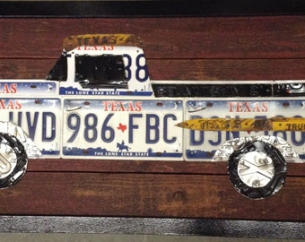 License Plate Art- Texas Truck, original, 50 x 22