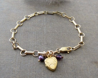 Gold Locket Bracelet, Tiny Gold Locket, Heavy Gold Chain, Vintage Charm Bracelet, Chunky Chain, Gold Heart Locket, June Birthstone Bracelet