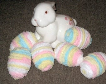"Set of 6 ""Chenille"" Pastel Easter Eggs - Ready for Easter!"