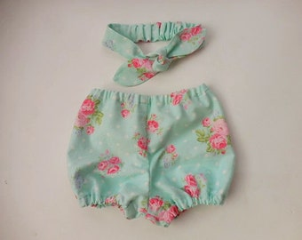 Light blue with pink flowers diaper cover bloomers with matching top knot headband