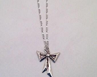 SALE   Vintage BOW Necklace Sterling Silver Ribbon Romantic Elegant